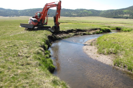 San Antonio Creek, Valles Caldera National Conservation Area, NM.  Sod transplant floodplain bench construction, 2011.